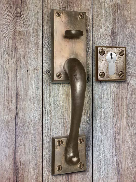 Poignée Bronze Style Americain Porte D Entrée Rustique